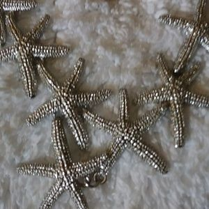 Silver plated Starfish Statement Necklace